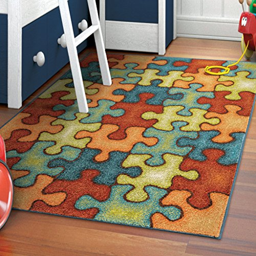 Orian Rugs Kids Perplexed Puzzle Multi Area Rug (5'2
