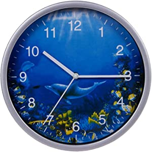 Keygift Wall Clock Silver, 8 Inches Silent Non-Ticking Quartz, Ocean Theme Wall Decor with Dolphins, Battery Operated Round Clock for Kids Room/Living Room/Office/Kitchen/Classroom, Easy to Read