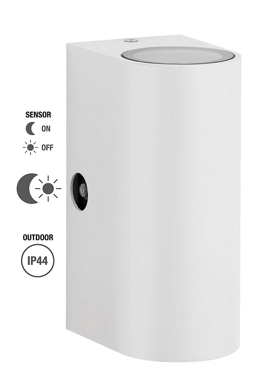 lampada per esterni commutazione automatica diurna e notturna Trango IP44 Alu Up /& Down Light in bianco quadrato con sensore crepuscolare adatta per ogni 2x LED GU10 TG8013-SSW lampada da parete per esterni