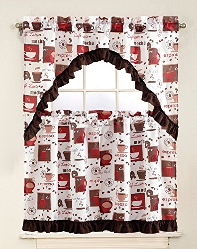 MarCielo 3 Piece Printed Floral Kitchen/Cafe Curtain With Swag And Tier  Window Curtain Set, Cup, Espresso White