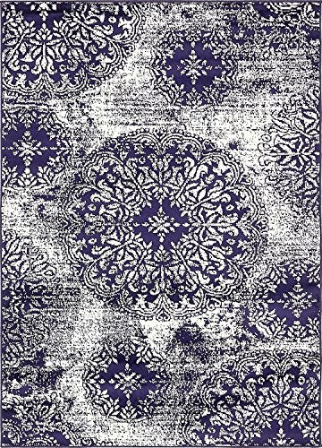 Modern Vintage Inspired Overdyed Area Rugs Navy Blue 4' x 6' FT Wembley Rug - modern & Traditional rugs for living room - rugs for dining room & bedroom - Floor Carpet - Navy Blue Floor