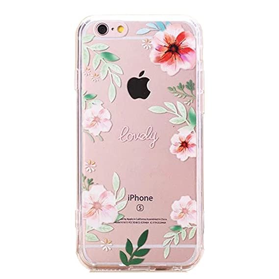 cheap for discount 77c0f 9afdc Urberry Iphone 6s Case, Iphone 6 Slim Back Cover, Transparent Rose Print  Case for 4.7 Inch Iphone 6/6s with a Screen Protector