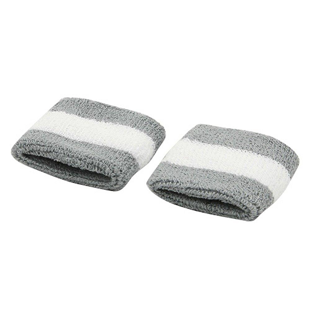 Terry Stripe Wristband Pair-Grey White