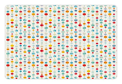 Ambesonne Abstract Pet Mat for Food and Water, Colorful Circular Large Dots Bubble Happy Hipster Kids Nursery Stylish Fun Print, Rectangle Non-Slip Rubber Mat for Dogs and Cats, Multicolor