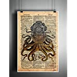 Octopus in a vintage brass diving helmet, cool nautical steampunk art print 6
