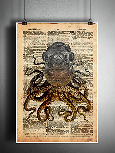 Octopus in a vintage brass diving helmet, cool nautical steampunk art print 4