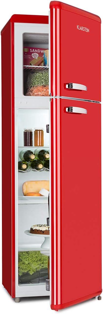 Klarstein Audrey Retro - Combiné réfrigérateur 194 L, Congélateur 56 L, A++, 3 étagères en verre, 1 grille à bouteilles, 4 compartiments de porte, rouge