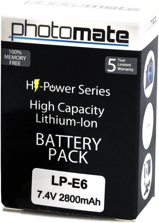 Amazon Com Photomate Lp E6 Lpe6 Ultra High Capacity Rechargeable Battery Pack 2800mah For Canon Eos 70d 60d 60da 7d 7d Mark Ii 6d 5d Mark Ii Iii 2 3 Dslr Digital Camera
