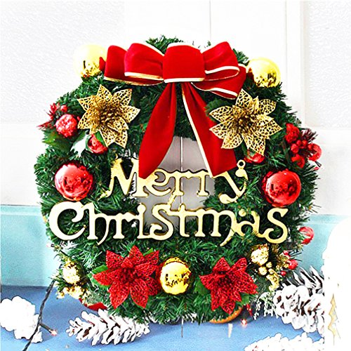 Christmas Wreath Decorated Ornament Garland Indoor or Outdoor Red (Large Image)