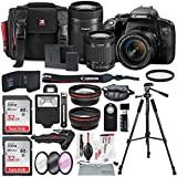 Canon EOS Rebel T7i DSLR Camera W/EF-S 18-55mm f/4-5.6 IS STM + EF-S 55-250mm f/4-5.6 IS STM Lens, 2 X 32GB, 58mm Telephoto & Wide-Angle Lens, Filters, Tripods Flash, Xpix Lens Accessories