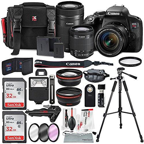 Canon Sharp Eos - Canon EOS Rebel T7i DSLR Camera W/EF-S 18-55mm f/4-5.6 IS STM + EF-S 55-250mm f/4-5.6 IS STM Lens, 2 X 32GB, 58mm Telephoto & Wide-Angle Lens, Filters, Tripods Flash, Xpix Lens Accessories