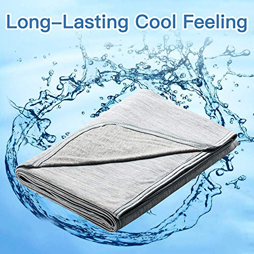 Marchpower Cool Throw Blanket, Newest Cool-to-Touch Technology, Lightweight Cool Blanket for Night Sweats, Breathable Summer Throw Blanket for Kids Couch Sofa, Q-MAX>0.4, (Gray, Small, 67 x 51 inches)