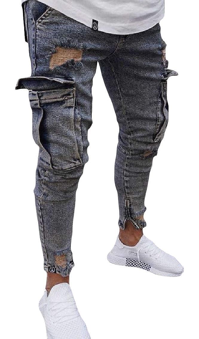 Coolred-Men Holes Mid Waist Zipper Fashion Pocket Stretch Trim-Fit Denim Pants