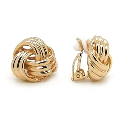 Sparkly Bride Love Knot Clip On Earrings Gold Plated Women Fashion