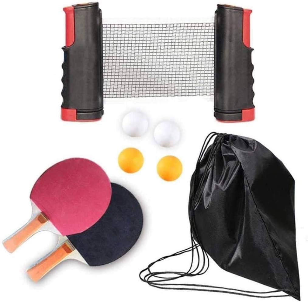 Woodtree Paleta de Ping Pong/Tenis de Mesa Raqueta Conjunto portátil del Ping-Pong paletas Conjunto de 2 con retráctil Tabla Neto de Pádel Set 8 Bolas Juego Profesional,Color:Orange (Color : Negro)
