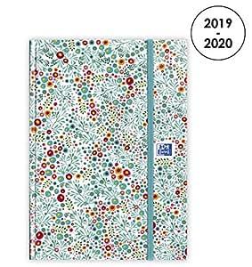 Oxford Flowers - Agenda 2019 – 2020 de agosto a agosto (1 día por página, formato 15 x 21 cm), color azul