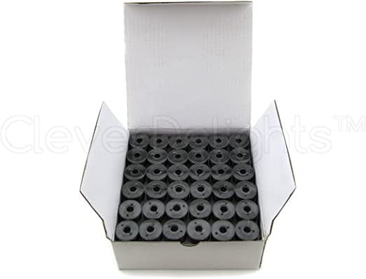 SA156 Replacement 60wt 7//16 x 13//16 Size A Class 15 Bobbins CleverDelights 144 Black Prewound Bobbins For Brother Embroidery Machines
