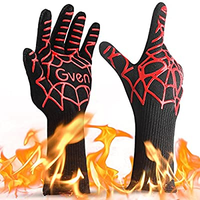 "BBQ Cooking Gloves, 932°F Extreme Heat Resistant Grilling Gloves Non-Slip Kitchen Mitts BBQ Fireplace Accessories for Men Women, 1 Pair,14"" Extra Long"