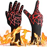 """BBQ Cooking Gloves, 932°F Extreme Heat Resistant Grilling Gloves Non-Slip Kitchen Mitts BBQ Fireplace Accessories for Men Women, 1 Pair,14"""" Extra Long"""