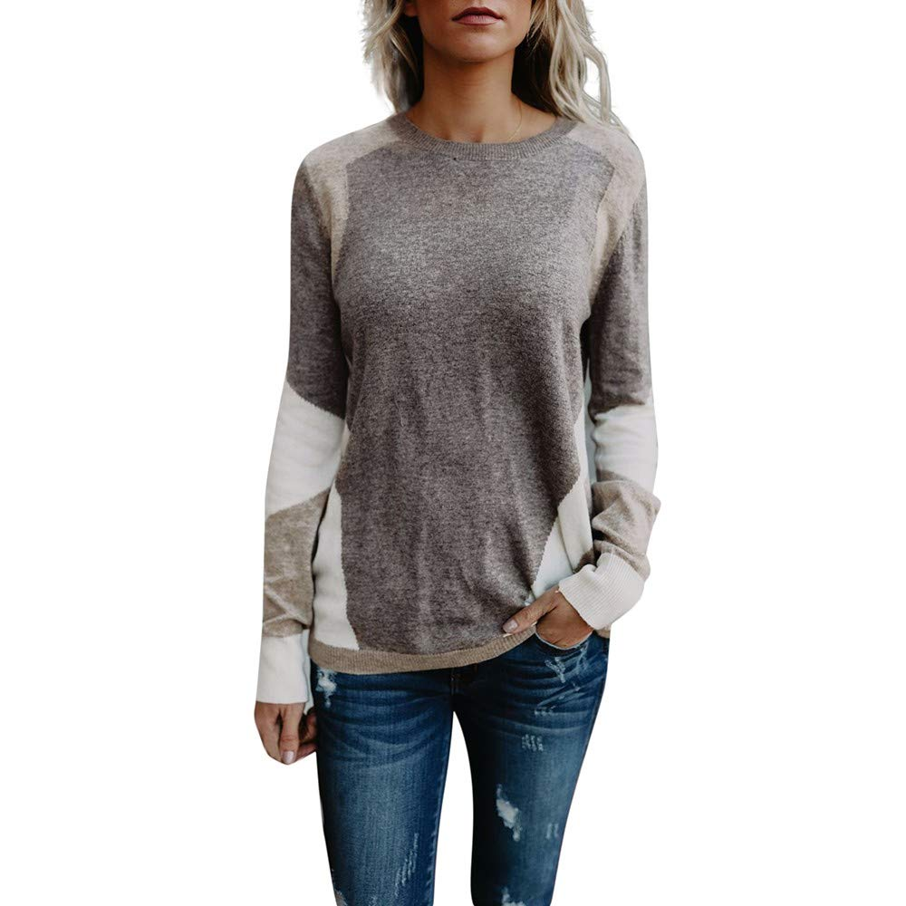 Yvelands Damen Tops Gestrickte Patchwork Langarm Strickjacke T-Shirt Tops Lose Pullover