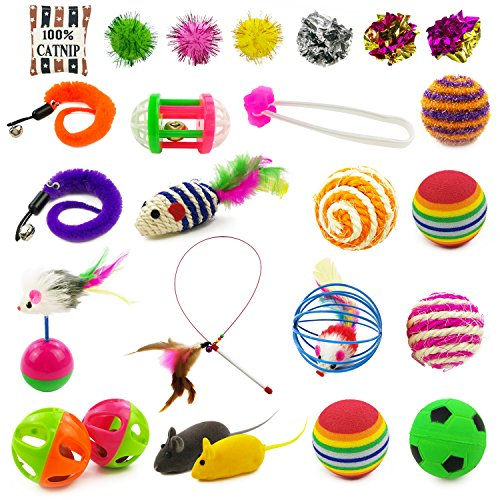 Holicolor 25 Pieces Cat Toys for Kitten Includes Wand, Massager, Balls, Bells, Mice, Catnip Cushion & More (Catnip Filled Ball Pillows)