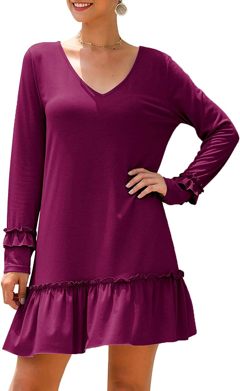 Miskely Womens V Neck Long Sleeve Ruffle Flare Swing Tunic Tops Casual Loose Peplum Blouse T Shirt for Legging