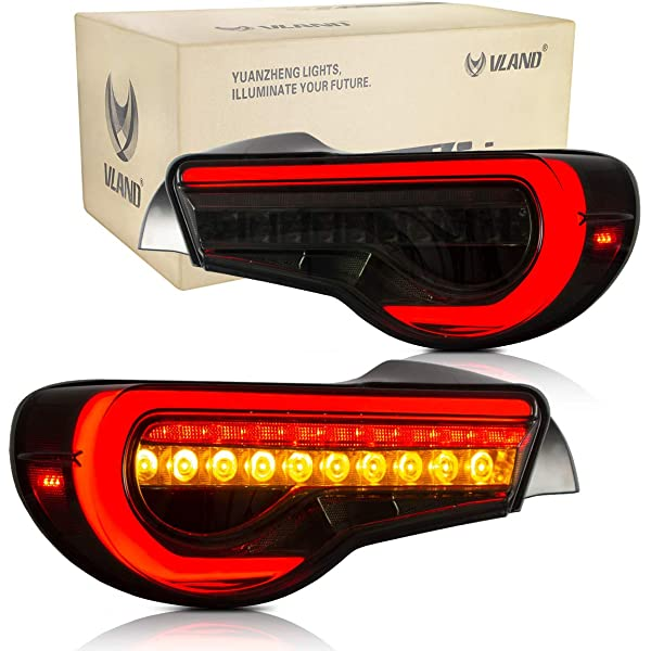 VLAND Smoked LED Rear Light for GT86 FT86 ZN6 2012-2018 BRZ FRS Tail Lights Lamp