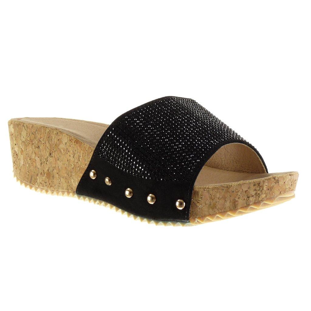 Angkorly Chaussure Mode Mode Mule Sandale Liège Chaussure Plateforme Femme Strass Diamant Clouté Liège Talon Compensé Plateforme 5 cm Noir e93bb31 - boatplans.space