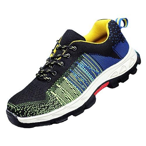 f614bbf3 Hombre Mujer Zapatillas de Seguridad con Puntera de Acero Antideslizante  Transpirable Zapatos de Trabajo Calzado de Trabajo Deportivos Botas de ...