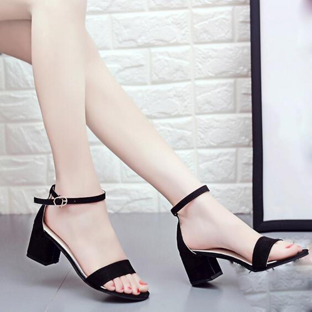 Sandalias mujer CN:39, Negro Manadlian Sandalias de verano para mujer Single Band Sandalia de tac/ón grueso Correa de tobillo Zapatos
