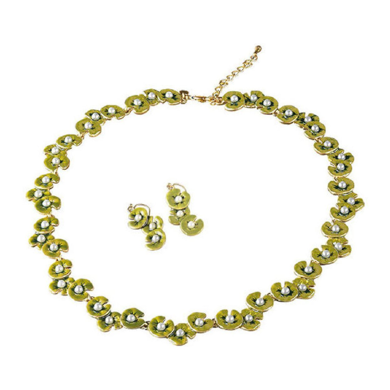 Claude Monet Water Lilies Green Enamel Glass Pearl Lotus Necklace and Earrings Set - Pricegems Museum Store Collection
