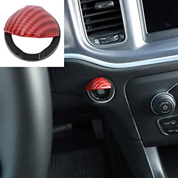 RT-TCZ Headlights Switch Button Panel Trim Cover ABS Interior Decoration Accessories Trim Cover for Dodge Charger 2015 UP Red