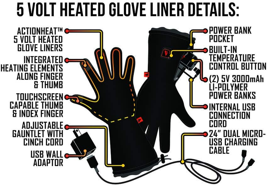 Rechargeable Heat Liner Gloves Touch-Control Extended Gauntlet Battery Heated Gloves w// 3-Heat Settings ActionHeat 5V Heated Glove Liners for Women