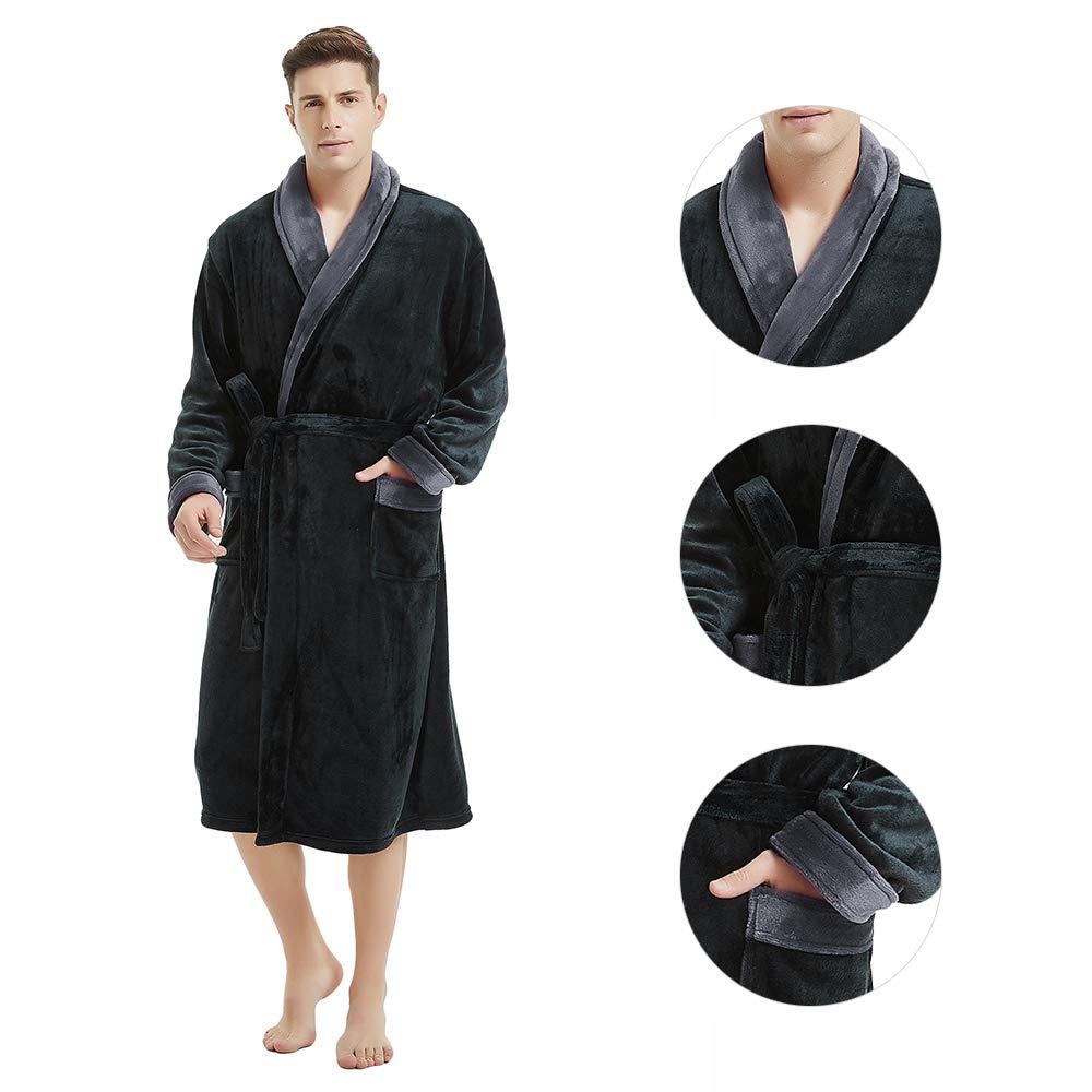 U2SKIIN Mens Fleece Robe Plush Collar Shawl Bathrobe Navy Blue