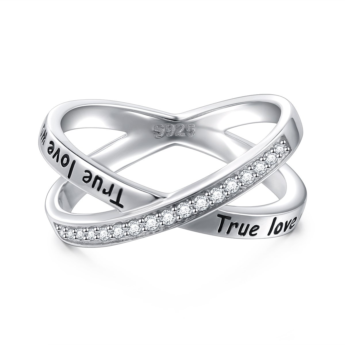 S925 Sterling Silver True Love Waits Infinity Criss Cross Rings for Women Lady, Size 7 by Silver Light Jewelry (Image #2)