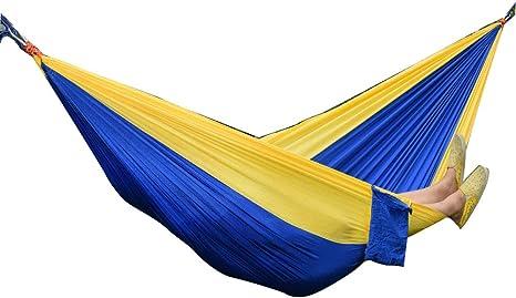 Hamaca para Acampar Individual y Doble, 275 * 140 cm Zafiro + Mochila Ultraligera portátil de Color Amarillo Claro Jardín Columpio Hamaca Jardín, Playa Paracaídas Doble Hamaca: Amazon.es: Deportes y aire libre