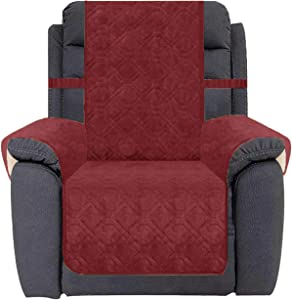 Ameritex Waterproof Recliner Cover Coral Fleece Furniture Protector Anti-Slip Updated Pattern Supper Soft and Warm Pet Sofa Cover for Dogs and Children (Burgundy, Recliner)