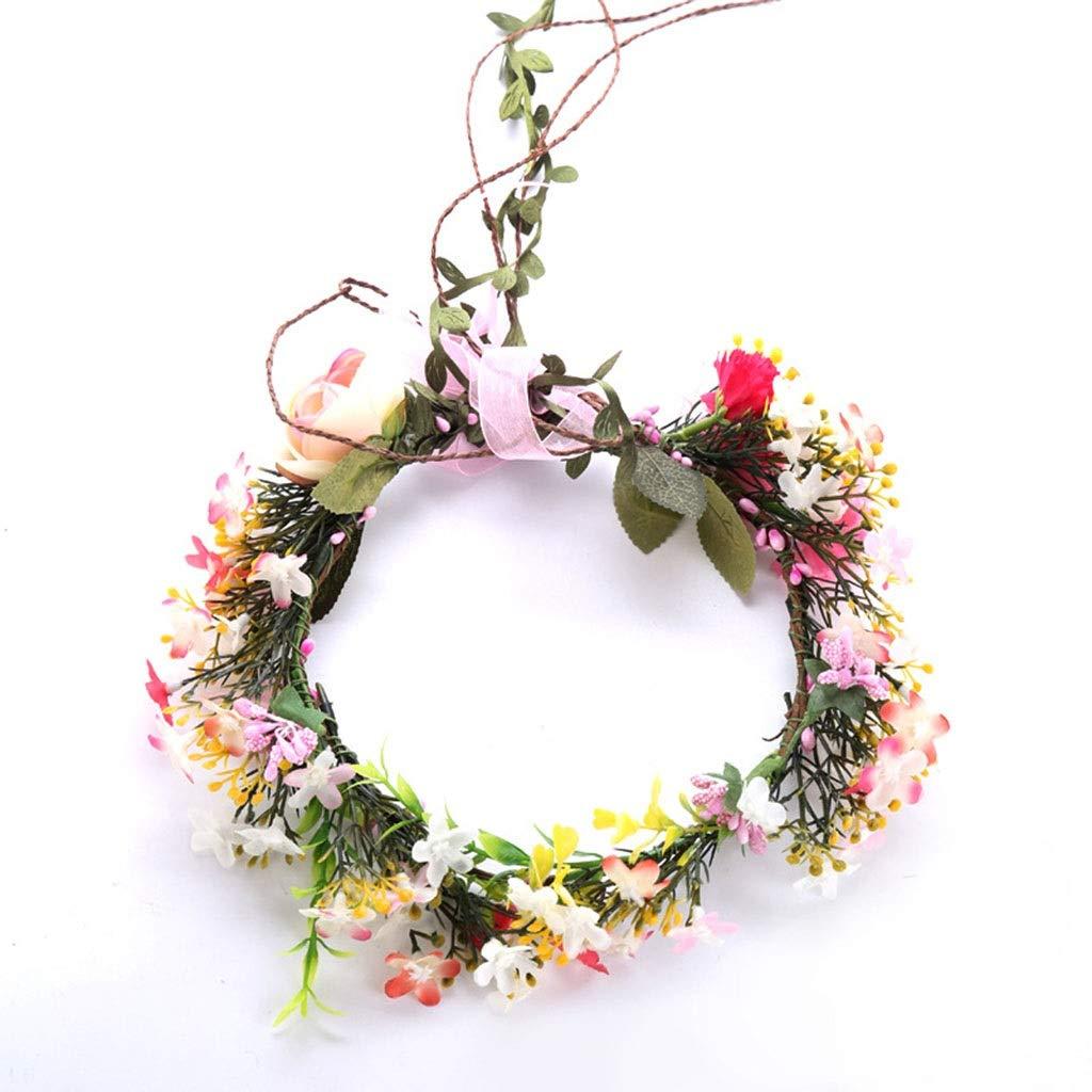 Wreath Flower Bride Wedding Headdress Beautiful Princess Hair Accessories Photo Studio Photo Accessories (Size : 5cm50cm)