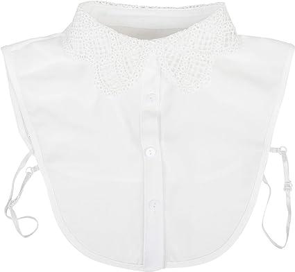 styleBREAKER Cuello de Blusa de Mujer con óptica de Encaje de Ganchillo y Tapeta de Botones, Cuello para Blusas y jerséis 08020006