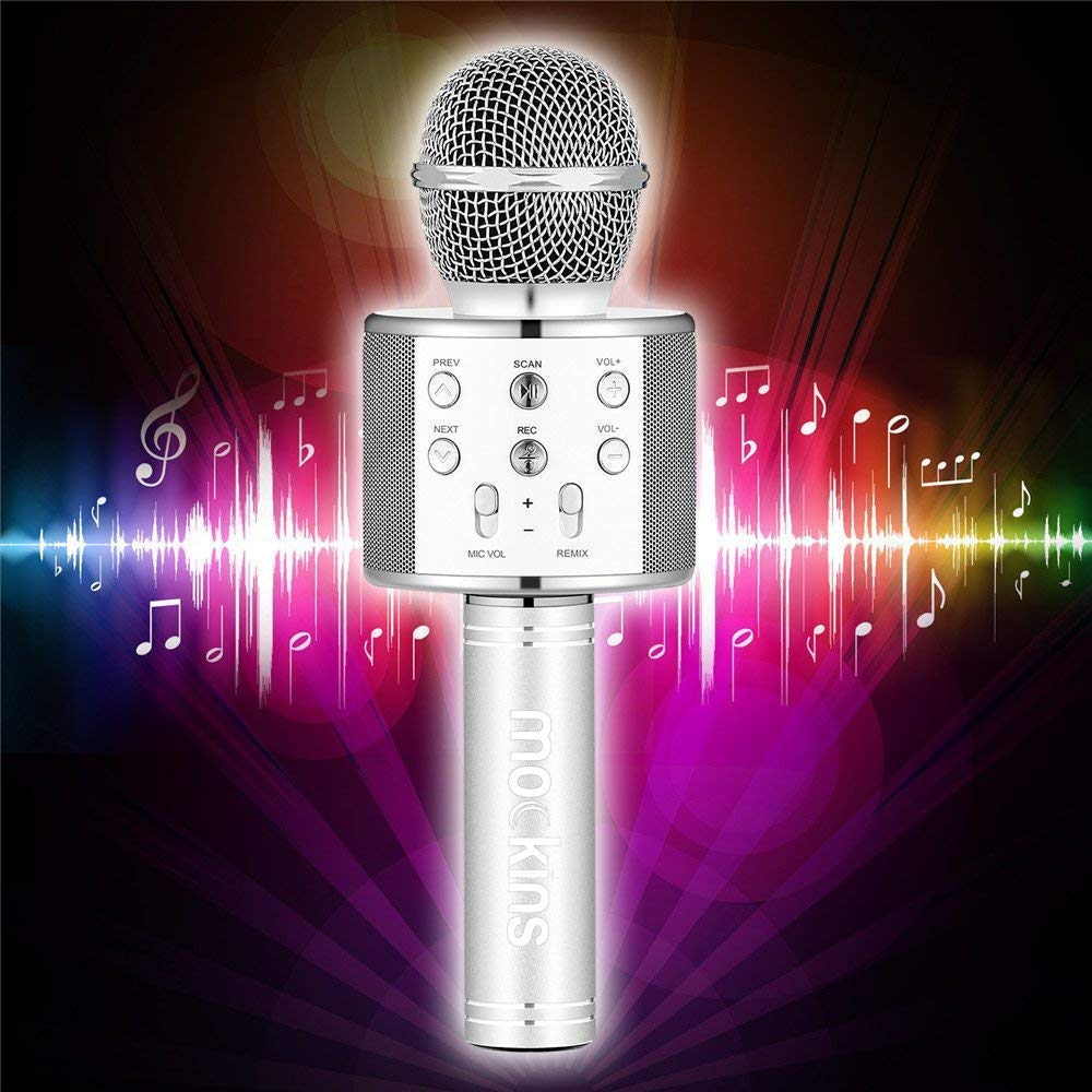 Mockins Premium Wireless Portable Handheld Bluetooth KARAOKE MICROPHONE Compatible with Android & IOS Apple - Silver ... ... ... ... ... by Mockins (Image #5)