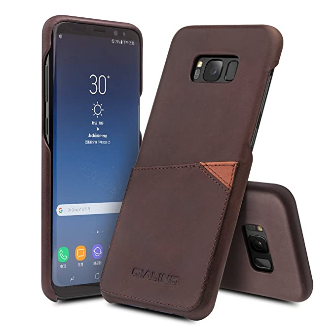 best loved c8150 931b5 Galaxy S8 Case with Card Holder, QIALINO Slim Genuine Leather Back Cover  Case for Samsung Galaxy S8 Unlocked, Dark Brown