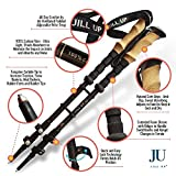 Walking Sticks - Trekking Poles Set By Jill Up - Lightweight & Collapsible Carbon Fiber Hiking Poles - Quick Flip - Lock, Cork Grips, & Tungsten Tips - Snow Baskets & Mud Baskets + Rubber Feet & Rubber Tips