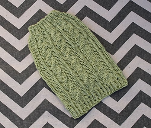 Pistachio Cashmere - Merino Wool Silk Cashmere Cable Dog Puppy Sweater XXS/XS 2 to 3 Lbs Luxury Pistachio Green Chihuahua Yorkie Pomeranian Maltese Teacup