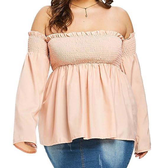 ... Tops Mujer Primavera Camisetas Mujer Manga Larga Algodon Tallas Grandes Mujer Fiesta Blusas Camisetas Sin Hombros Mujer: Amazon.es: Ropa y accesorios