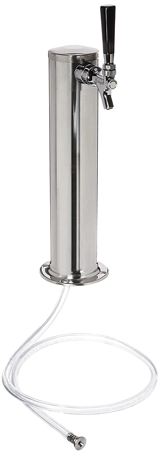 """Kegco D4743T-SS Polished Stainless Steel Single Tap Beer Tower - 3"""" Column"""