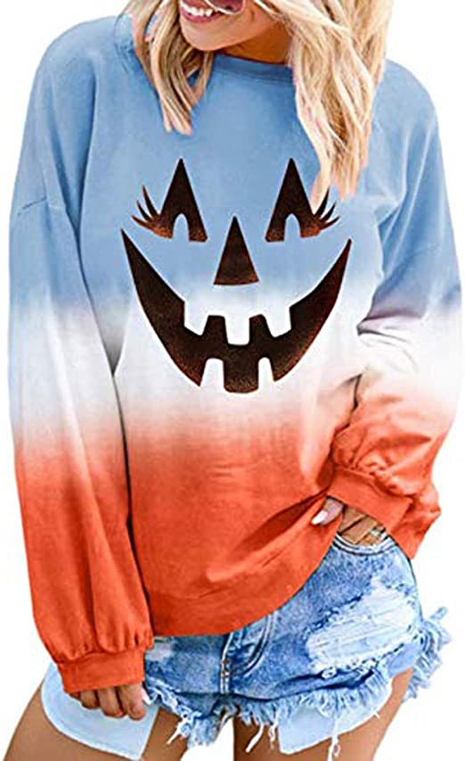 Meikosks Womens Fashion Print T Shirt Crew Neck Long Sleeve Tops Loose Casual Pullover Blouses