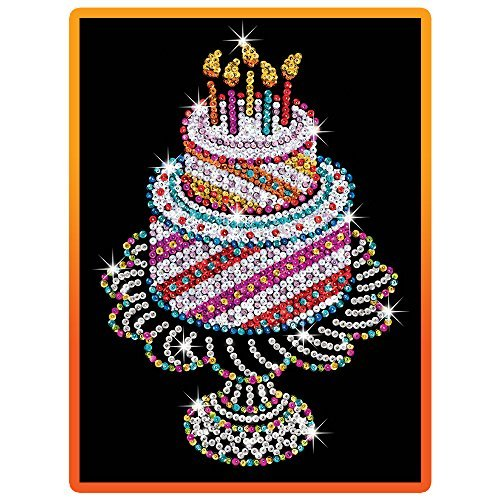 Sequin Art orange, Birthday Cake, Sparkling Arts and Crafts Picture Kit, Creative Crafts by Sequin Art