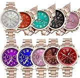 Yunanwa 10 Pack Women's Men's Gold Steel Watch Watches Unisex Quartz Wristwatches Wholesales