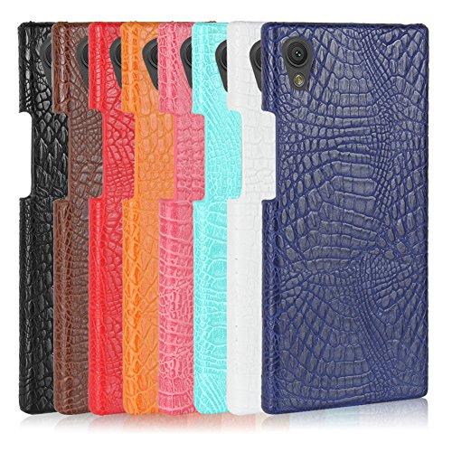 Funda Sony Xperia L1, SunFay Funda Posterior Protector de PC Carcasa Back Cover de Parachoques Piel PU Protectora de Teléfono Para Sony Xperia L1 - Azul-verde Marron