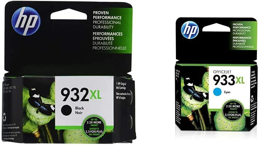 HP 932XL | Ink Cartridge | Black | CN053AN & 933XL | Ink Cartridge | Cyan | CN054AN